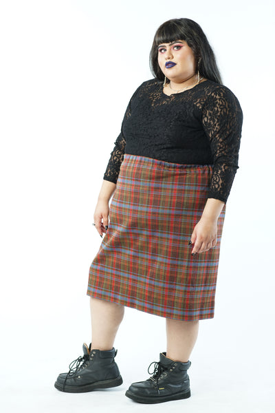 Vintage 70s Precious Perfect Plaid Skirt - 2X/3X