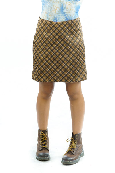 Vintage 90s Brown Schoolgirl Skirt - M