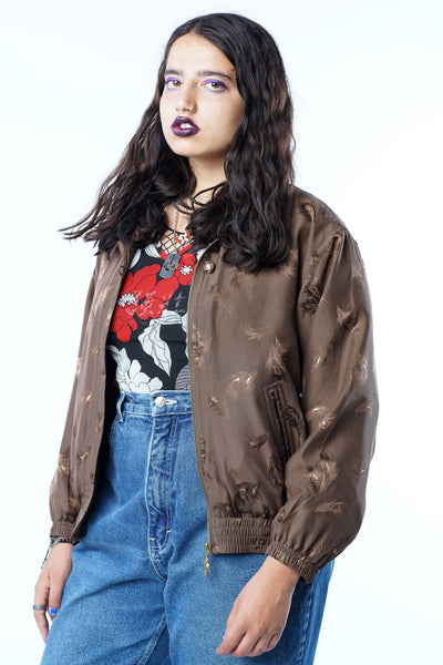 Vintage 90s Brown Gold Feather Windbreaker Bomber - XS/S/M