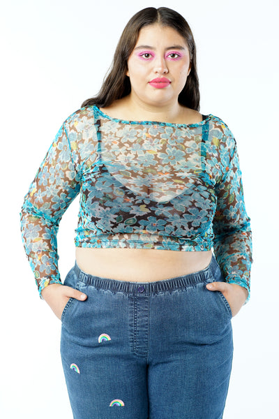 Vintage 90s Mesh Sheer Blue Floral Long Sleeve Crop Top - M/L/XL