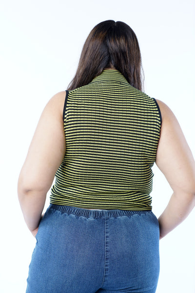 Y2K Lime Green Black Stripped Short Sleeve Turtleneck - L