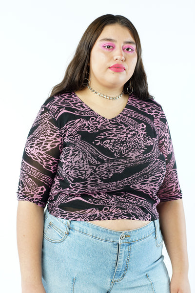 Vintage 90s Black & Pink Abstract Mesh Blouse - M/L/XL