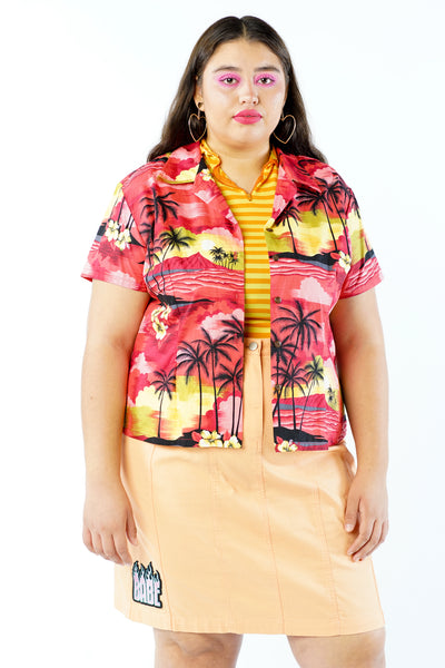 Vintage 90s Y2K Red Palm Tree Sunset Button Up Blouse - M/L/XL
