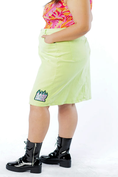 Y2K Neon Green Skirt w/ Flame Babe Patch - XL