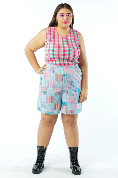 Vintage 90s Pastel Pink Blue Plaid Checkered Shorts - M/L/XL