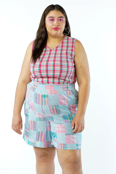 Vintage 90s Pink Plaid Crop Tank Top - L/XL