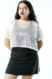 Y2K White Mesh Sporty Crop Top - One Size Fits Up to L
