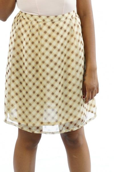 Vintage 90's Plaid Cream & Brown Skirt - S/M