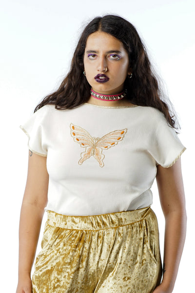 Vintage 90s White Embroidered Butterfly Blouse w/ Gold Trim - M