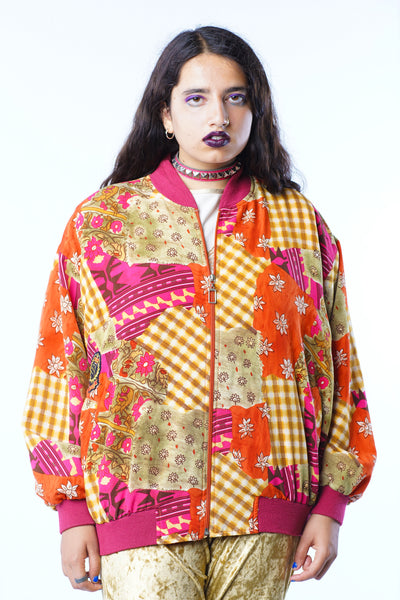 Vintage 90s Incredible Pink Orange Patchwork Bomber Jacket - One Size Fits Up XL