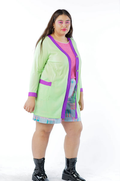 Vintage 70s Neon Lime Green Cardigan w/ Purple Trim - One Size Fit Up To XL
