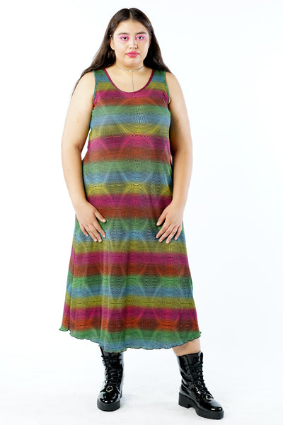 Vintage 90s Rainbow Color Gradient Dress - L/XL/2X