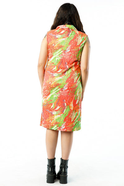 Vintage 70s Orange Green Abstract Collared Dress - M