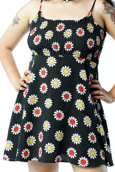 Vintage 90s Black Daisy Mini Dress w/ Spaghetti Strap Dress - M/L