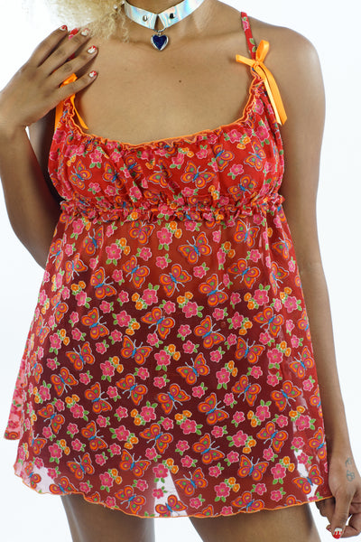 Vintage 90s Red Butterfly Floral Tank - S/M