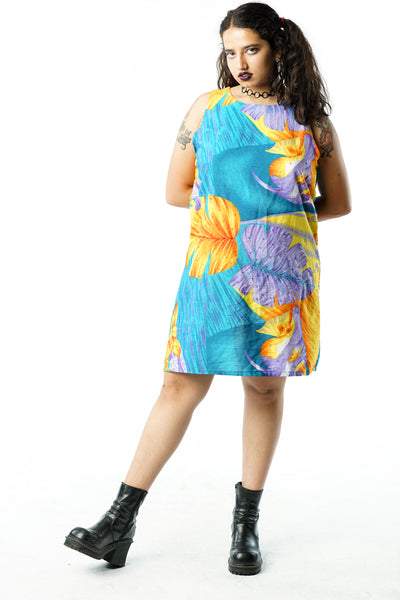 Vintage 90s Tropical Ocean Fish Leaf Dress - M/L