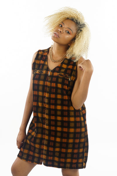 Vintage 90's Corduroy Plaid Mini Dress - M/L