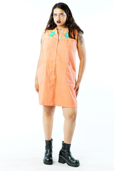 Vintage 70s Orange Zip Shift Dress w/ Floral Embroidery - M/L