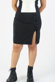 Vintage 90s Black Skirt w/ Slit Detail - M