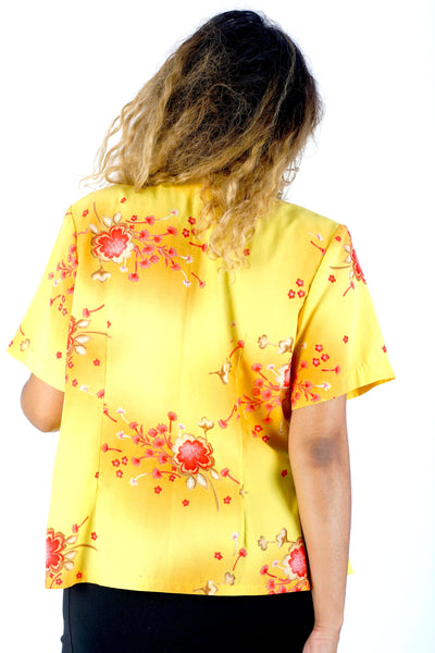 Vintage 90s Yellow Glittery Floral Button Up Blouse - One Size Fits Up To A L