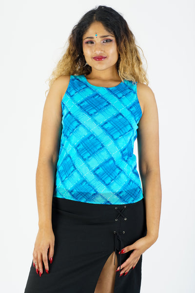 Vintage 90s Blue Checkered Tank - S/M