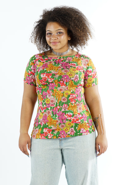Vintage 70s Vibrant Flower Power High Neck Shirt - L