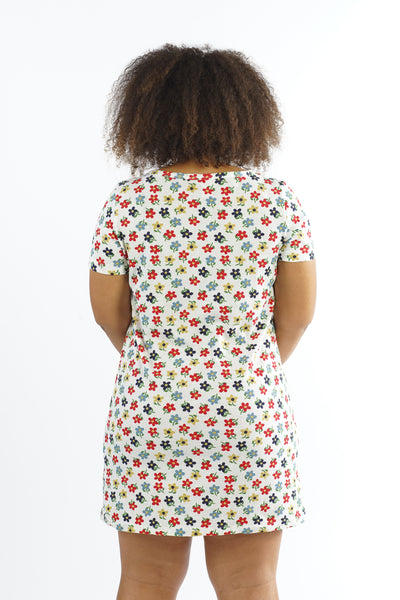 Vintage 90s White Floral Print Mini Dress - L/XL