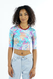 Vintage 90s Teal Purple Abstract Digital Print Crop Top - XXS