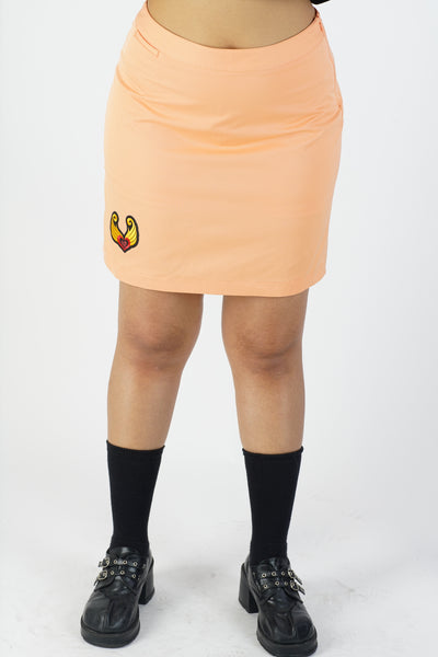 Y2K Pastel Orange Heart Embroidery Skort - L