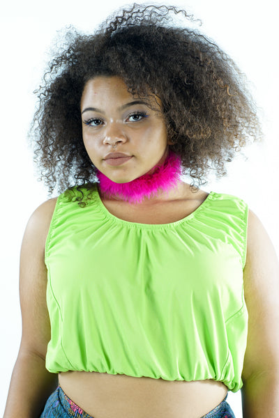 Vintage 90s Lime Green Scrunchy Crop Tank Top - L/XL/2X