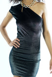 Current Black Sparkly Velvet One Shoulder Bodycon Mini Dress - XXS