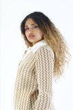 Vintage 80s Gold Button Up Blouse - M/L