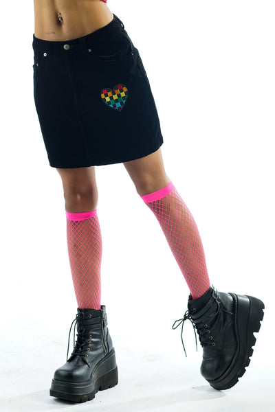 Y2K Black Velvet Mini Skirt w/ Rainbow Checkered Heart Patch - XXS/XS/S
