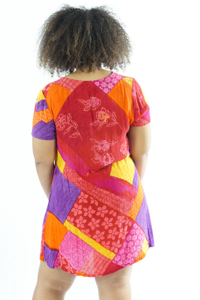 Vintage 90s Bright Color Block Mini Dress - One Size Fits Up To XL