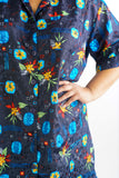 Vintage 90s Collared Floral Mini Dress - 2XL