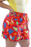 Vintage 80s/90s Red Novelty Print Picasso Shorts - L