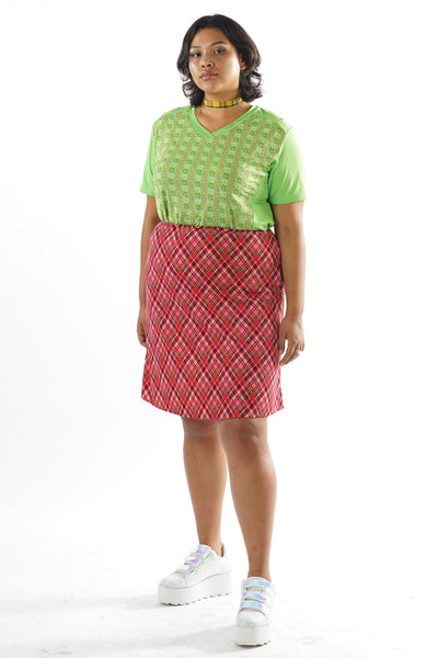 Vintage 90s Pink Plaid Clueless Skirt - XL/2X