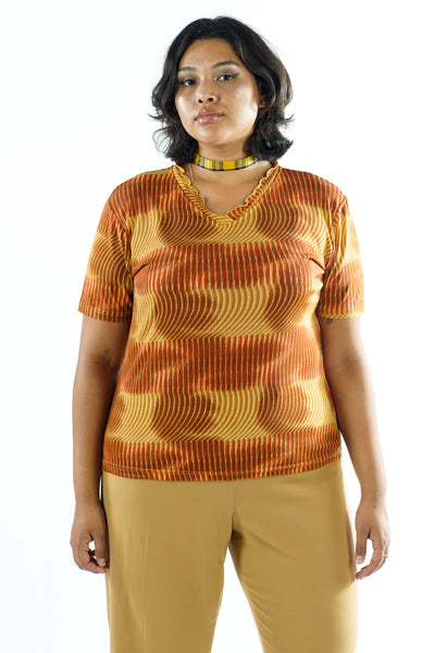 Vintage 90s Brown Orange Vaporwave Ruffle Neck Blouse - L/XL