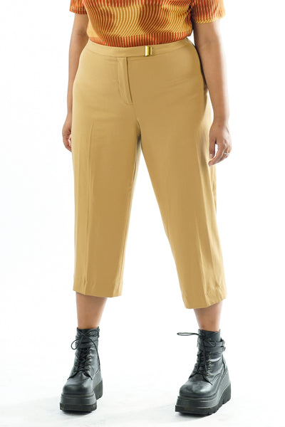Vintage 90s Y2K Tan Trousers w/ Waist Detail - XL