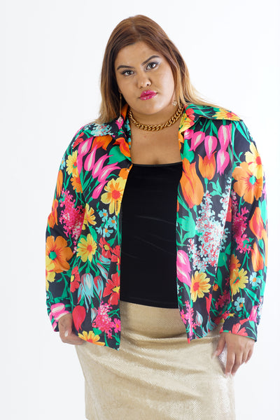 Vintage 70's Colorful Flowery Jacket / Blouse - One Size Up To XL