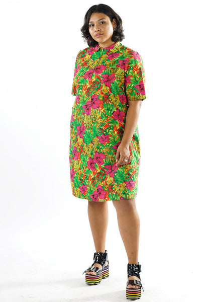 Vintage 70s Green Tropical Floral Mod Shift Dress - L/XL