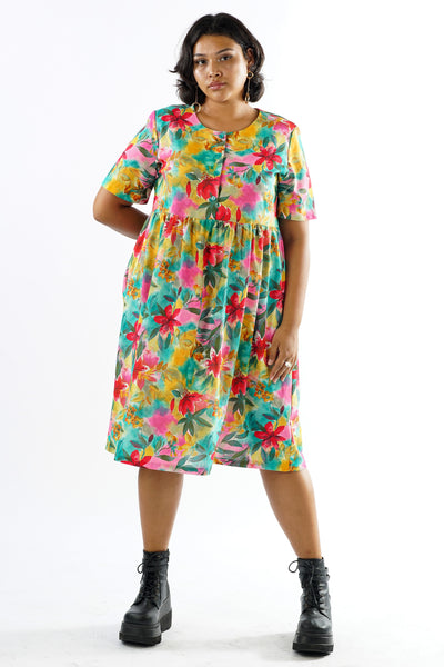 Vintage 90s Colorful Floral Watercolor Babydoll Dress - L/XL