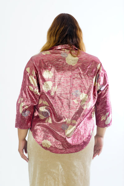 Vintage 70s Pink & Gold Metallic Blouse - S/M/L/XL