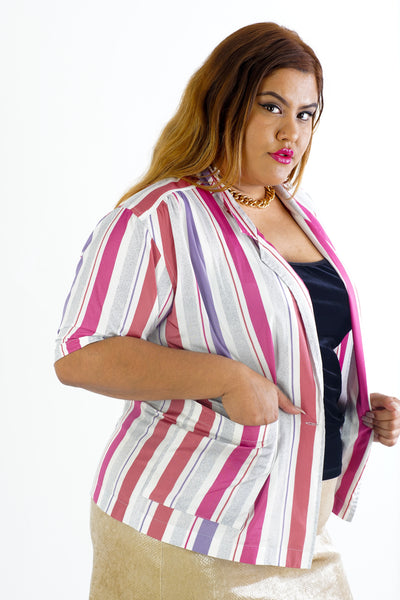 Vintage 80s Pink Striped Button Up - L/XL