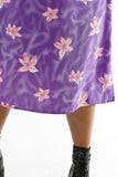 Vintage 90s Purple Tropical Flower Vaporwave Dress - L/XL