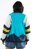 Vintage 90s Sporty Blue Stripped Windbreaker - One Size Up To 2X