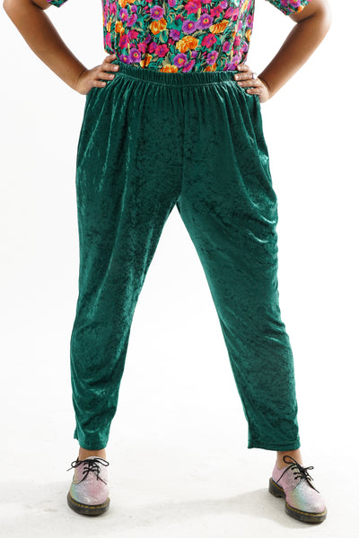 Vintage 90s Crushed Velvet Green Stretchy Pants - XL/2X/3X