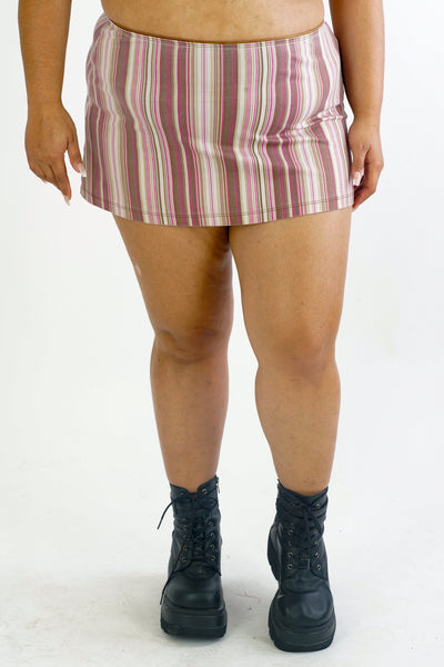 90s/Y2K Vertical Striped Mini Skirt - XL/2XL