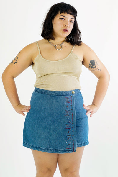 Y2k Embroidered Denim Skort - M