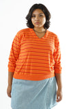 Vintage 90s Bright Orange Stripped Pull Over Sweater - One Size Fits Up to XL